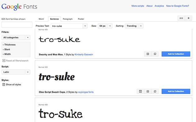 Google Web Fonts